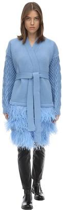 Maison Kaleidoskope Short Wool Knit Cardigan Coat W/feathers
