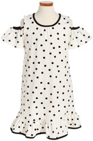 Kate Spade Girl's Polka Dot Cold Shoulder Dress