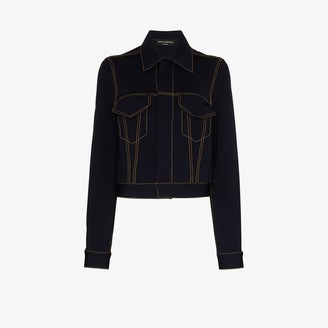 Alled Martinez Cropped Denim Look Jersey Jacket
