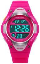 SKMEI Kid's Boys Girls Sport Digital Led Back Light Watches Week Alarm Chronograph Wrist Watch-Red