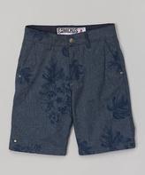 Micros Navy Skull Flower Walk Shorts - Boys