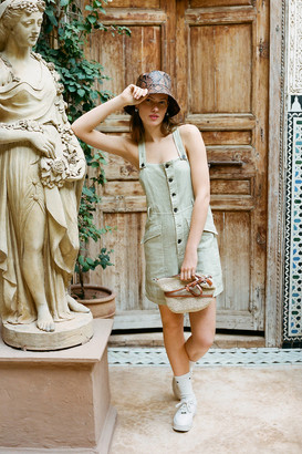 Urban Outfitters Boho Linen Button-Front Shortall Overall