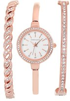 Anne Klein Women's Crystal Bezel Watch & Bangle Set, 24Mm