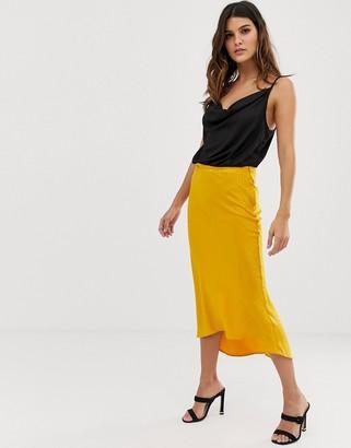 John Zack satin slip skirt in yellow jacquard