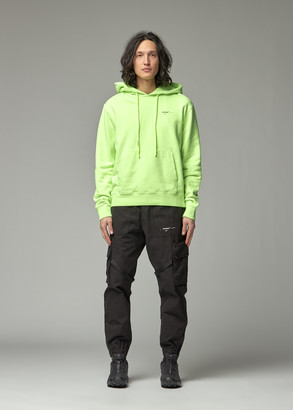 Off-White Men's Arrow Logo Slim Hoodie in Fluorescent Yellow/Silver Size Small