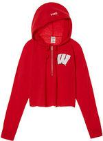 PINK University Of Wisconsin Varsity Cropped Half-Zip Hoodie
