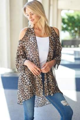 Cezanne Cold-Shoulder Leopard-Print Kimono