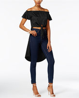 Material Girl Juniors' Satin Off-The-Shoulder High-Low Top, Created for Macy's