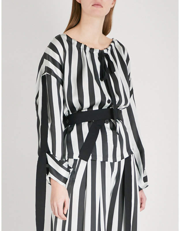 Ann Demeulemeester Ruched-neck striped silk blouse