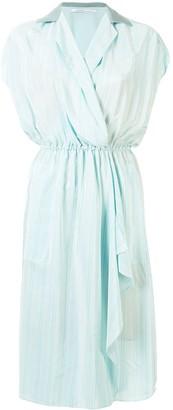 Agnona Striped Open-Collar Dress