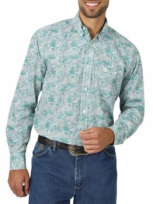 Wrangler Men's Big & Tall Western George Strait One Pocket Button Long Sleeve Woven Shirt Emerald