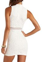 Charlotte Russe Lace Mesh Mock Neck Dress