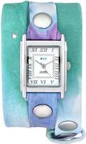 La Mer Women's LMSTW3001 Malibu Tie Dye Green Silver Wrap Watch