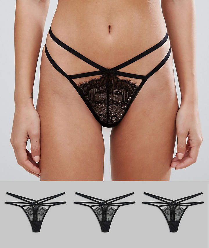Design DESIGN 3 pack strappy thong with eyelash lace