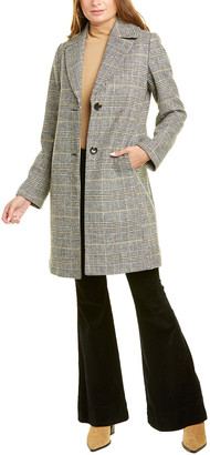 Tahari Glen Plaid Medium Wool-Blend Coat