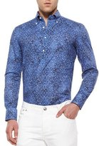 Isaia Bandana-Print Woven Shirt, Navy