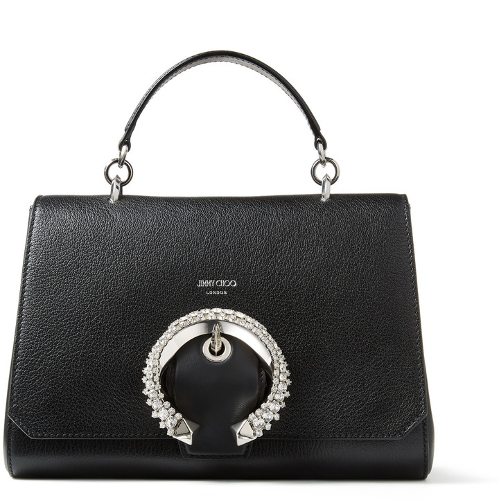 Jimmy Choo MADELINE TOPHANDLE Black Goat Calf Leather Top Handle Bag with Crystal Buckle