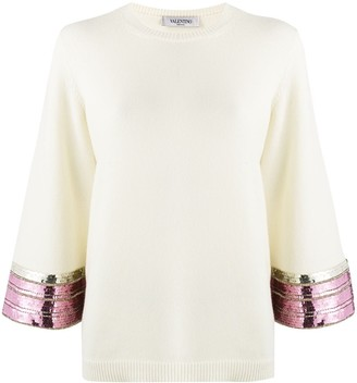 Valentino Sequin Embroidered Jumper