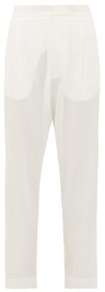 ALBUS LUMEN Safi High-rise Cotton-crepe Trousers - White
