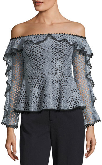 Alexis Sylvana Off-the-Shoulder Lace Top w/ Ruffled Trim