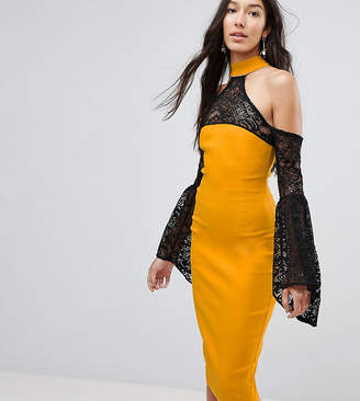 Vesper Tall Cold Shoulder Lace Bell Sleeve Dress-Yellow