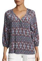Joie Colby Kimono Ikat Print Silk Blouse