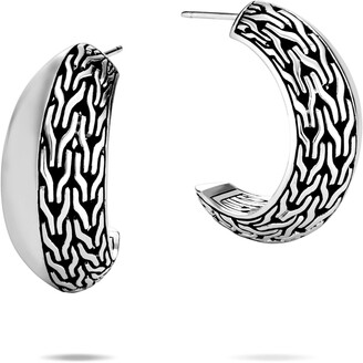 John Hardy Classic Chain Knife Edge Hoop Earrings