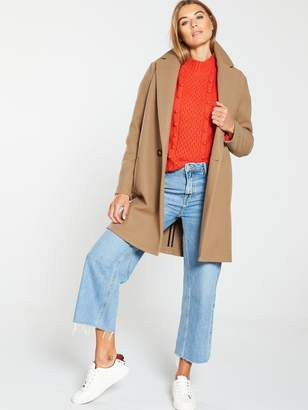 Very Knitted Unlined Coat -Camel