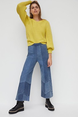 Pilcro And The Letterpress Pilcro Patchwork Ultra High-Rise Wide-Leg Jeans