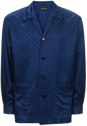 MENG Men S Navy Silk Geometric Jacquard Shirt
