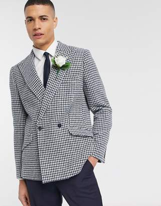 Asos Design DESIGN wedding Harris Tweed slim double breasted blazer in wool large scale houndtooth-Blue