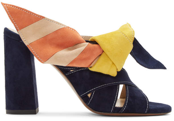 Chloé Navy and Multicolor Nellie Mules