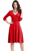 Soficy Deep V Neck 3/4 Sleeve Vintage Party Ruched Waist Cocktail Dress S