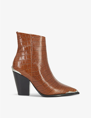 The Kooples Crocodile-embossed leather ankle boots