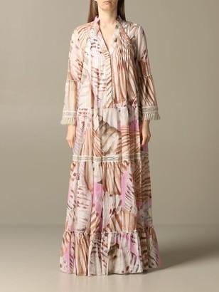Blumarine Long Dress In Printed Kaftan
