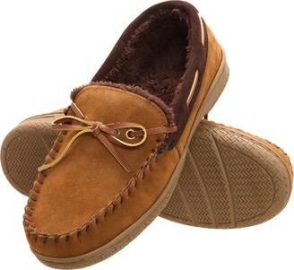 Heat Edge Mens Memory Foam Suede Slip on Indoor Outdoor Moccasin Slipper Shoe (13