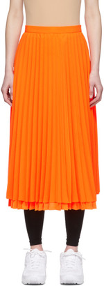 Junya Watanabe Orange Chiffon Pleated Skirt