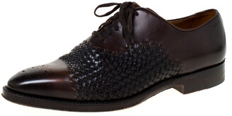 Bally Brown Leather Braided Lace Up Oxfords Size 41