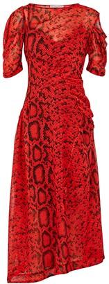 Preen by Thornton Bregazzi Franny snake-print chiffon midi dress