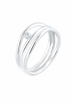 Elli Premium Women 925 Silver Silver Round Diamond Wrapped Anniversary Ring