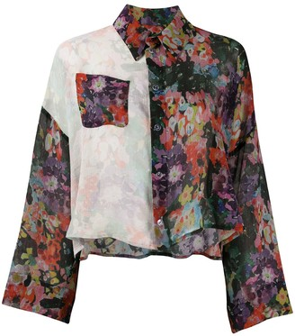 Anntian Contrast-Panel Floral Silk Blouse