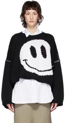Raf Simons Black Oversized Wool Smiley Crewneck Sweater