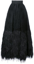 Isabel Sanchis embroidered plume trimmed ball skirt