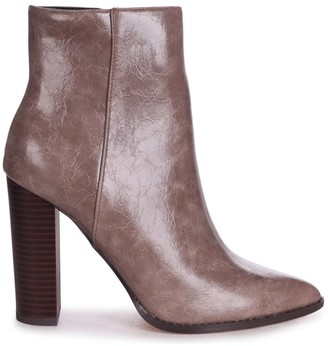Linzi LUCY - Taupe Cracked Faux Leather Ankle Boot With Stacked Block Heel