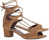 Tabitha Simmons Camel Suede Lace-Up Sandals