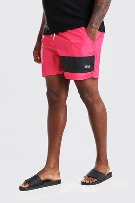 boohoo Mens Red Big And Tall MAN Official Mid Length Swim Short, Red