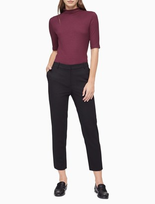 Calvin Klein Solid Ribbed Mock Neck Sweater