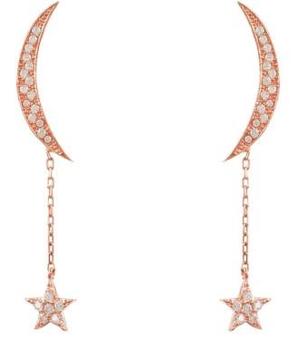 Latelita Moon & Star Earrings Rosegold White Cz