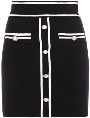 Maje Button-embellished Stretch-knit Mini Skirt