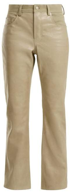 Acne Studios Contrast Panel Leather Jeans - Womens - Beige